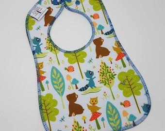 BABY BIB- Infant to Toddler -100% Cotton: Woodland Baby,Forest Bib,Fox,Bear,Woodland,Bib,Baby Gift,New Baby Gift,Baby Shower,1st Birthday