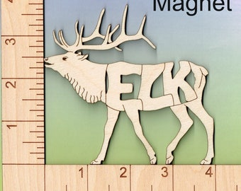 ELK laser cut and engraved wood Magnet
