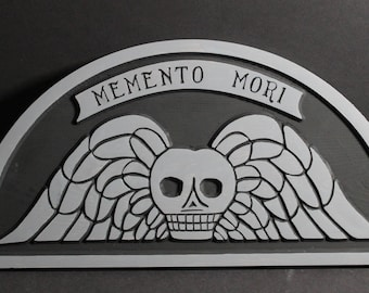 Memento Mori Gravestone Carved in Pine Wood | Early Gravestone | Old Gravestone Rubbings | Skull and Wings