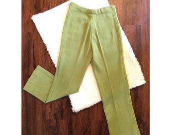 Avocado Green Slacks - Wool Blend - Vintage 60s - Size 8
