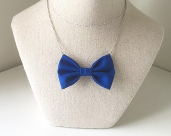 Royal Blue - Bow Tie Necklace, Parties, Birthday, Wedding Favors, Handmade Women Bowtie, Bow on a Chain, Deep Blue