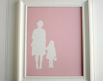 Custom Full Body Silhouette Print -  with 2 figures (couple, family) - made from your photo, family portrait