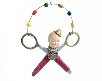 assemblage art doll ornament, little JUGGLER (19), original handmade Christmas ornament, mixed media assemblage, by Elizabeth Rosen