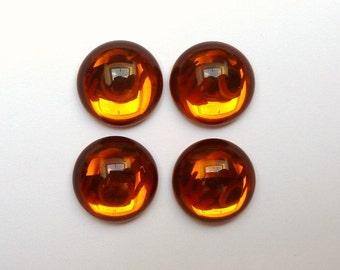 4 cabochons, glass, Ø15mm, Topaz, round