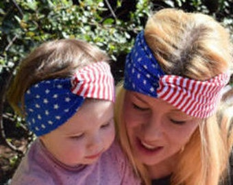 4th of July mommy and me outfits headwrap matching mother daughter patriotic headband Fourth of July baby girl head wrap  twist headband
