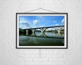 Henley Street Bridge, Tennessee River, Knoxville Tennessee, Bridge Photography, Knoxville River Walk, K Emlen Photography, Art for Office