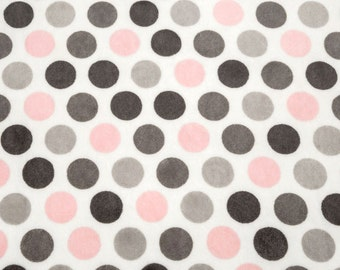 Personalized Minky Baby Blanket - Polka Dot in Blush Pink, Gray and White - Baby Girl or Boy - You Choose Solid Minky Color - Double Minky