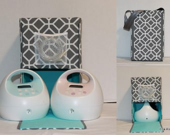 Ready to ship* Half size Ella Spectra Breast Pump bag in Stained Glass Gray print lined in Mint Blue