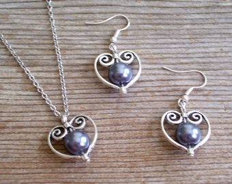 Bridal Necklace Earrings Set, Silver Heart Jewelry, Dark Gray Pearl Beads, Bridal Jewelry, Silver Heart Pendant Necklace, Heart Earrings