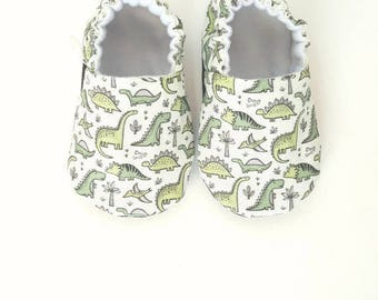 Dinos Baby Moccs / Baby Shoes / Baby Moccasins / Childrens Indoor Shoes / Organic Baby Moccs / Vegan moccs / Vegan Moccasins