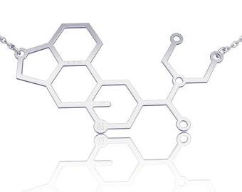 LSD Molecule necklace LSD necklace -Sterling Silver chemistry jewelry science jewelry sterling silver necklace