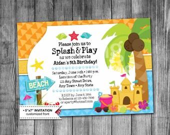 Kids Beach Birthday Invitation | Beach Party Invitation | Sandcastle | Shells | Starfish | Crab | Boy | Girl | 5x7 | Printable Invitation