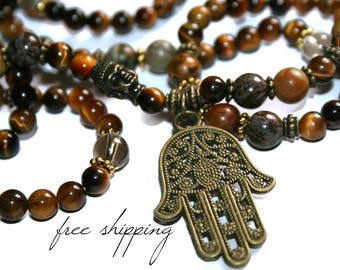 Tiger Eye Necklace, Tiger Eye Beads, Buddhist Necklace Mens, Hamsa Beaded Necklace, Buddha Necklace Men, Tiger Eye Jewelry, Buddha Necklace