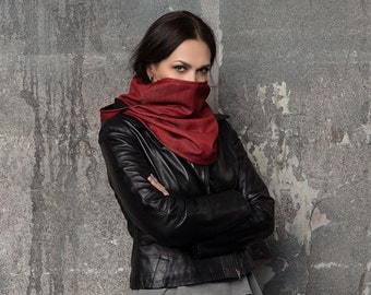 Infinity scarf women, red hood , Hooded infinity scarf ,  winter scarf , hooded cowl , scarf with hood , Hooded scarves women