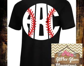 Baseball Monogram Short Sleeve Shirt-Baseball Shirt-Baseball Tee-Monogrammed Baseball Shirt-Baseball Gift-Baseball Team Shirt-Baseball Mom