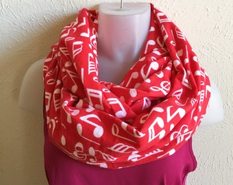 Music Notes Loop Scarf/Circle Scarf/Infinity Scarf