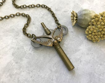 SALE Key Necklace, Swallow Necklace, Vintage Key, Woodland Bird, Unique Steampunk, Hardware, Upcycled Rustic Key, Men's Necklace, Bird Lover