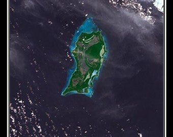 San Salvador Island Bahamas Satellite Poster Map