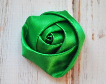 "4pc Emerald Green Satin Rosette - 2"" inch satin rose flowers - satin smooth rosette"