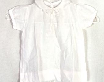 vtg 1920s 20s 30s Sheer Light White Cotton Baby Dress Lace Collar