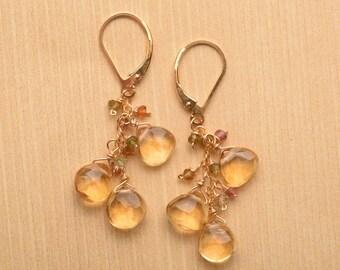 Citrine Earrings, Dangle Earrings, Healing Gemstone Earrings, November Birthstone, Long Gemstone Dangle Earrings,  Citrine Gold Leverback