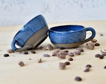 Espresso cups Set of 2, Blue Ceramic Espresso cups, Pottery coffee mug, coffee lovers gift, Espresso Machine Cups