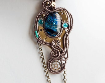 OOAK teal steampunk dichroic glass wire wrapped pendant