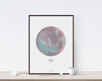 Moon print, moon printable, celestial watercolor, moon poster, la luna, moon wall art, moon watercolor, lunar, bedroom wall decor