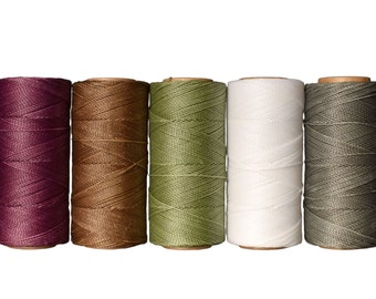Waxed Cord Linhasita, Macrame Cord Set of 5 Colors 10 meters each color, Macrame Rope, Jewelry String