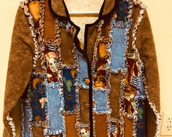 Handmade Western Cowgirl Flannel Rag Quilt Jacket with 3-Button Front