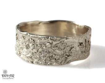 18k wedding band, rustic 14k white gold wedding ring, wide men's band, women's band, textured tree bark, ogranic design, rustic men band