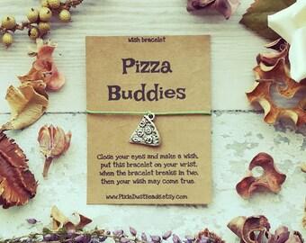 Pizza Buddies Wish Bracelet, Pizza Wish Bracelet, Pizza Friendship Bracelet, BFF Bracelet ,Pizza Jewelry, Pizza Bracelet, Friendship Gift