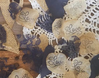 Navy Blue And Burlap Wedding Decorations~ Navy Blue Wedding Table Centerpiece~Rustic Bridal Shower ~Country Wedding Aisle Runner Ideas