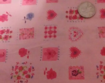 FABRIC/PINK--With Hearts and Flowers, One Yard, Cotton
