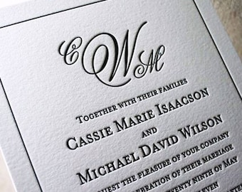 Miss Fitzgerald Letterpress Wedding Invitation, Elegant Wedding Invitation Set, Letterpress Wedding Invites, Sample