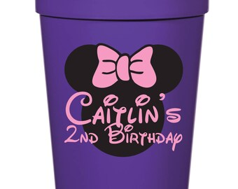 Minnie Mouse Birthday Party- 16 oz. Reusable Plastic Stadium Cup- Minimum Purchase of 12 Cups!
