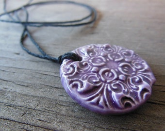 Royal Purple Floral Essential Oil Diffuser Necklace, Aromatherapy Ceramic Pendant, Bohemian Rustic Clay Jewelry Wholesale and Bulk Diffusers