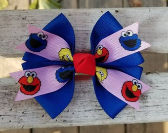 Sesame Street Elmo/Cookie Monster/Big Bird Hair Bow (4 inch)