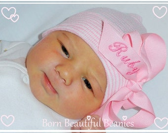Personalized baby Hospital hats, baby hat with name on bow, Newborn hospital hats, Newborn hat with bow, infant hat, baby girl hospital hat