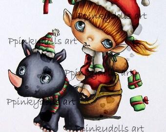 INSTANT DOWNLOAD Digital Digi Stamps..by Chrishanthi's art,Elf and Rhino''.