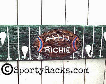 Football Team Blue Orange School Colors Orange and Blue Football Player Football Coach Gift Team Colors Blue Orange Football Mancave Art