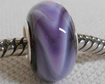 Handmade Glass Lampwork European Charm Bracelet Bead Large Hole Bead Black with Purple Swirls