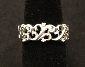 Sterling silver ring with small accent diamonds