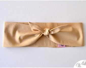 "HAIRBAND ""Neila"" HEADBAND BANDANA style beige cotton trend must have spring summer rockabilly knot"