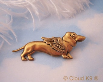 Dachshund Guardian ANGEL DOG PIN. Dachshund Jewelry Gift for Doxie Lovers by CloudK9 Dachshund with Angel Wings. Dachshund Angel Memorials