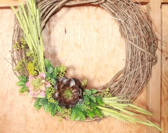 Spring hop wreath with succulents