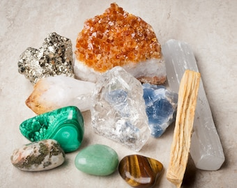 Crystals for Abundance and Prosperity / 11 pcs /Includes Raw & Tumbled Stones + Spiritual Cleansing Tools + Informational Booklet /Gift Box