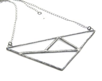 Abstract   Stained Glass   Pendant   Chain   Gift Under 50   Eclectic Jewelry   Clear Glass   Triangle   OOAK   Eccentric   Gift for Women