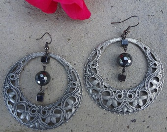 Metal Rounds and Hematite Square Earrings