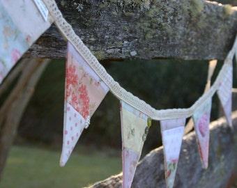 Mini Fabric Bunting - Sweet Shabby Bunting - Photo Prop, Party Decor, Fabric Garland, Nursery Decor